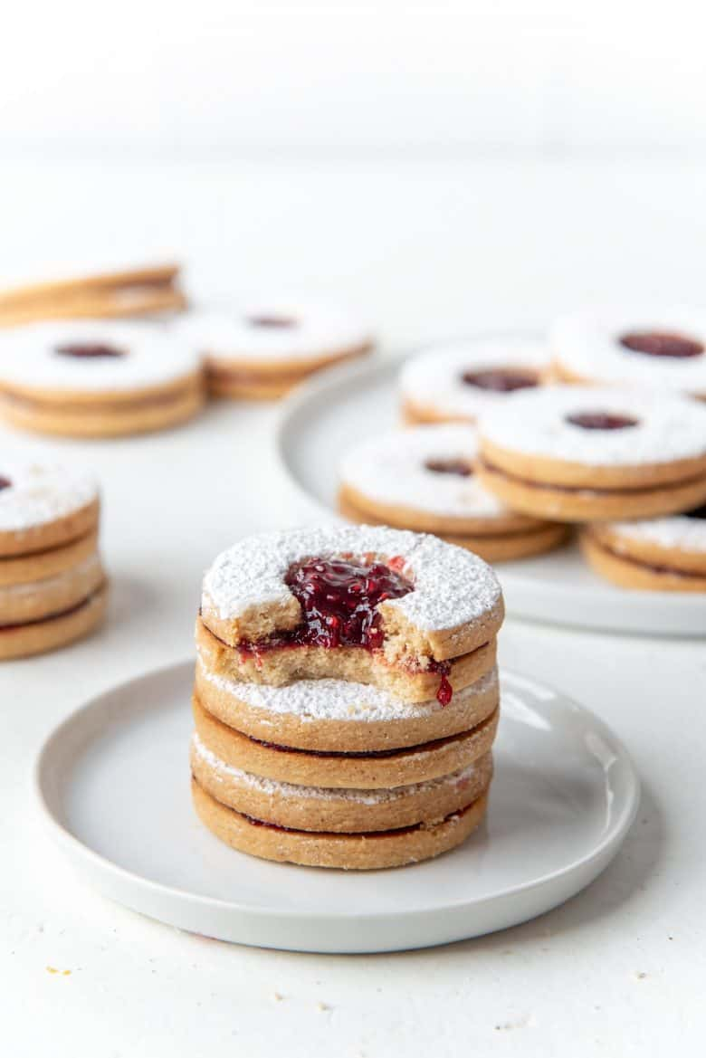 Stacked linzer cookies