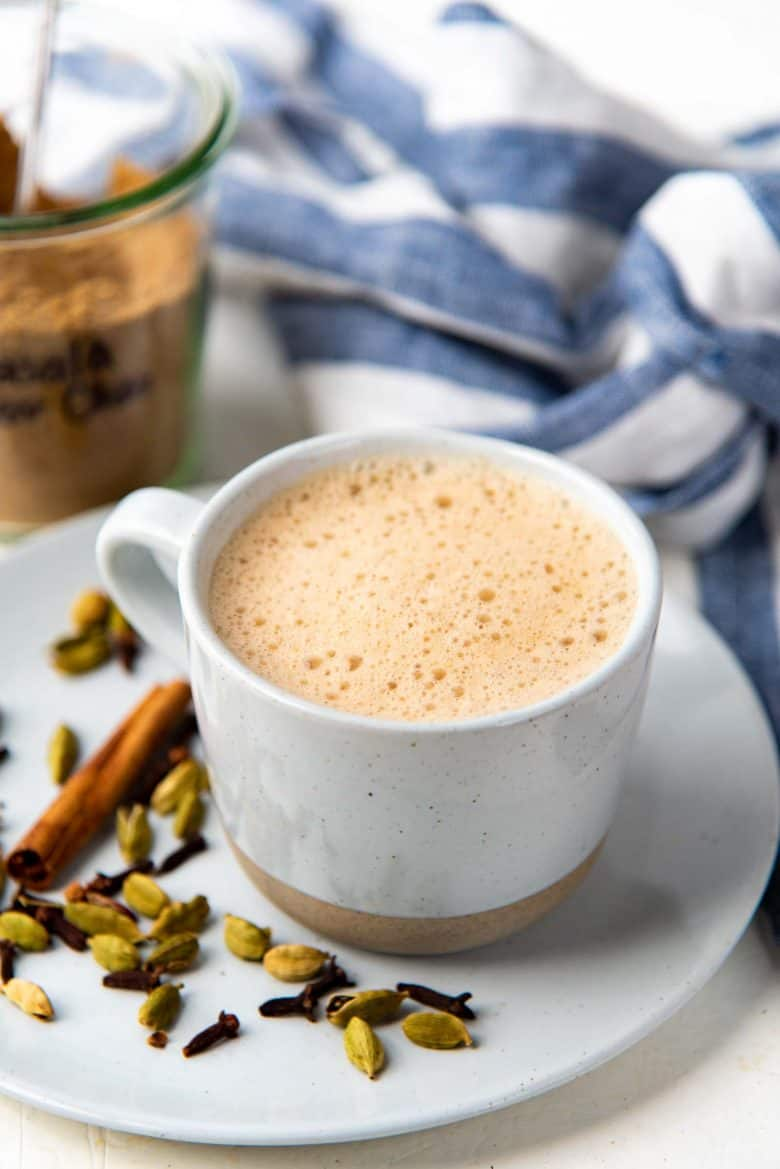 Masala chai, frothed and served in a mug