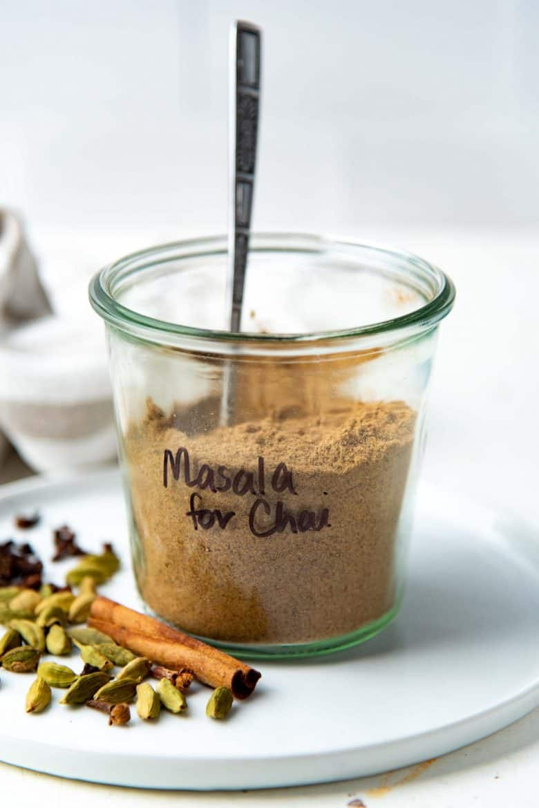 Masala for chai in a storage jar