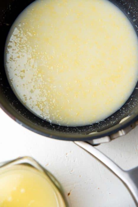 Cornstarch lemon juice mixture in a saucepan