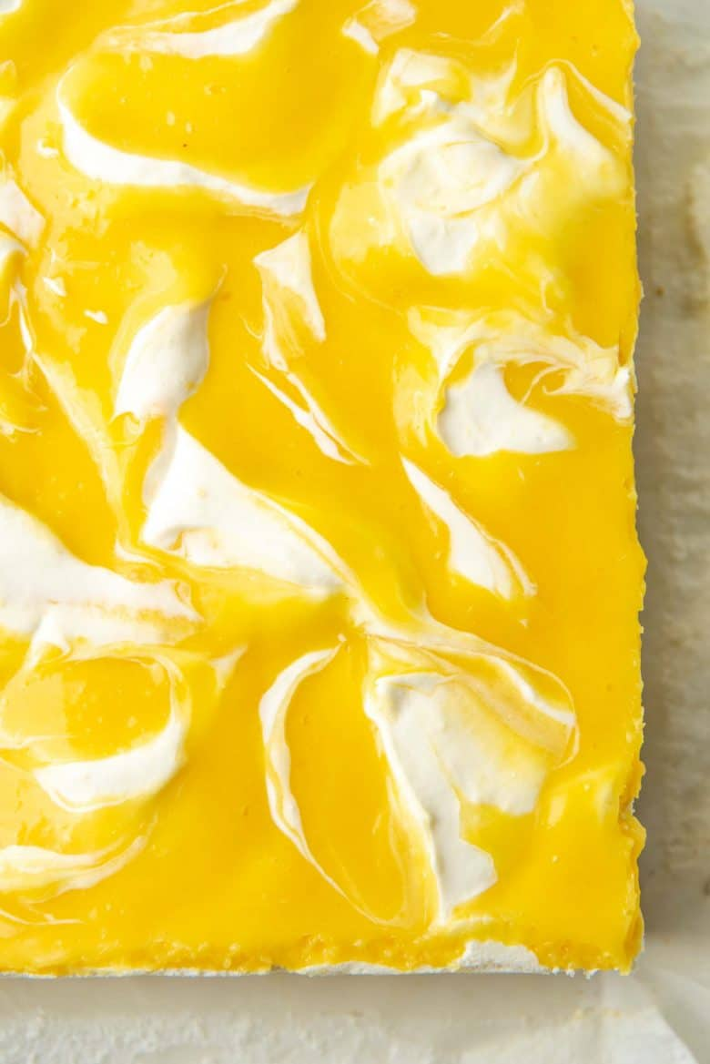 A close up of the no bake lemon cheesecake after it sets