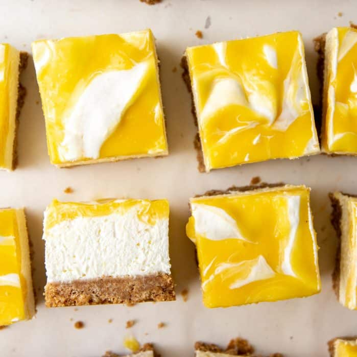 No bake lemon cheesecake bars social media