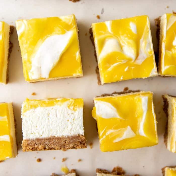 No bake lemon cheesecake bars social media