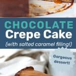 Salted caramel chocolate crepe cake social media