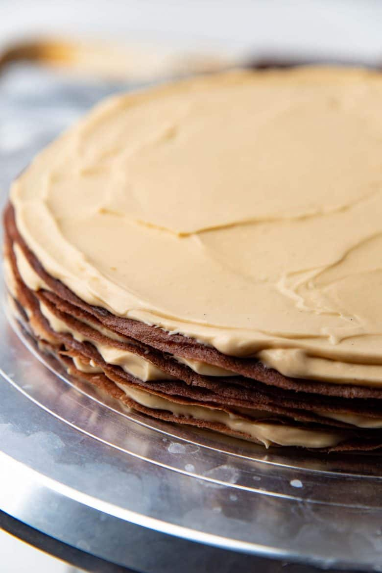 Stacked chocolate crepes with the salted caramel filling inbetween