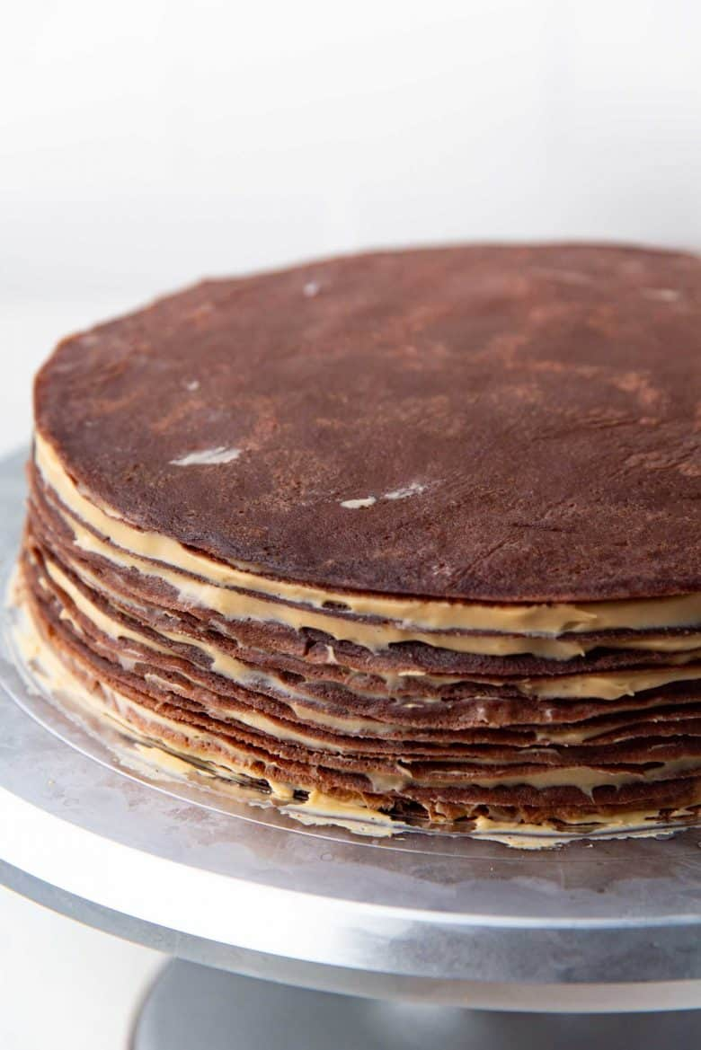 The chilled crepe cake, ready to be glazed