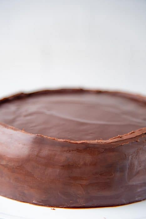 The chocolate ganache dam created on top of the cake