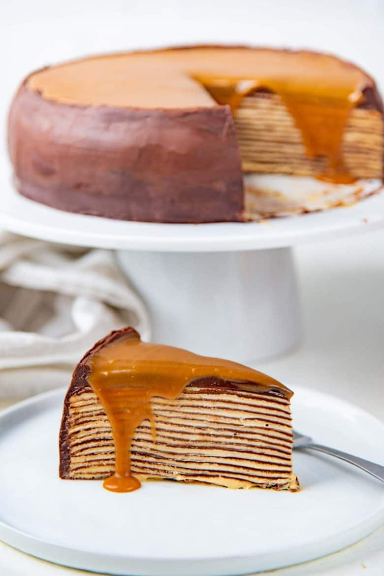 Crepe cake slice on a white plate