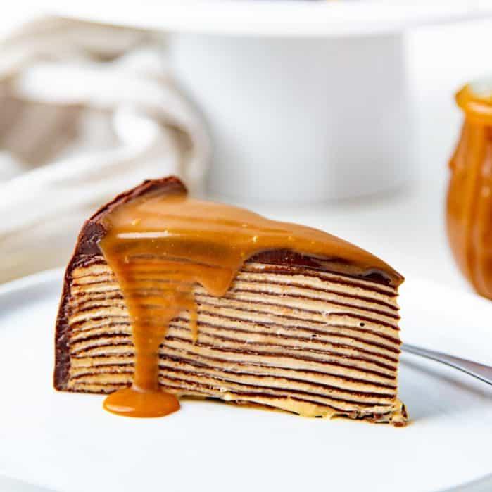 Salted caramel chocolate crepe cake social media
