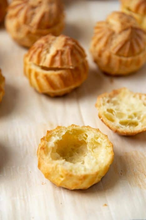 The bottom of the choux pastry with the top separately