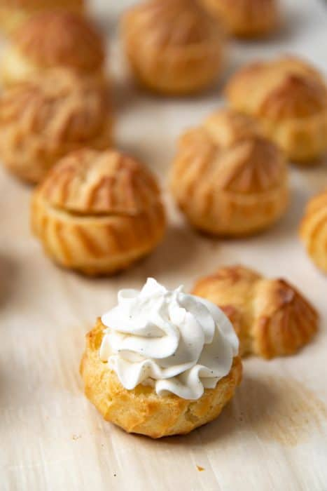 The bottom of the choux pastry, filled with chantilly cream