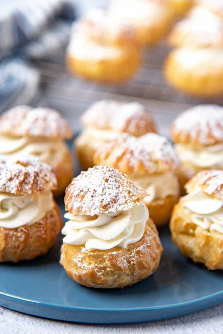 A close up of the cream puffs