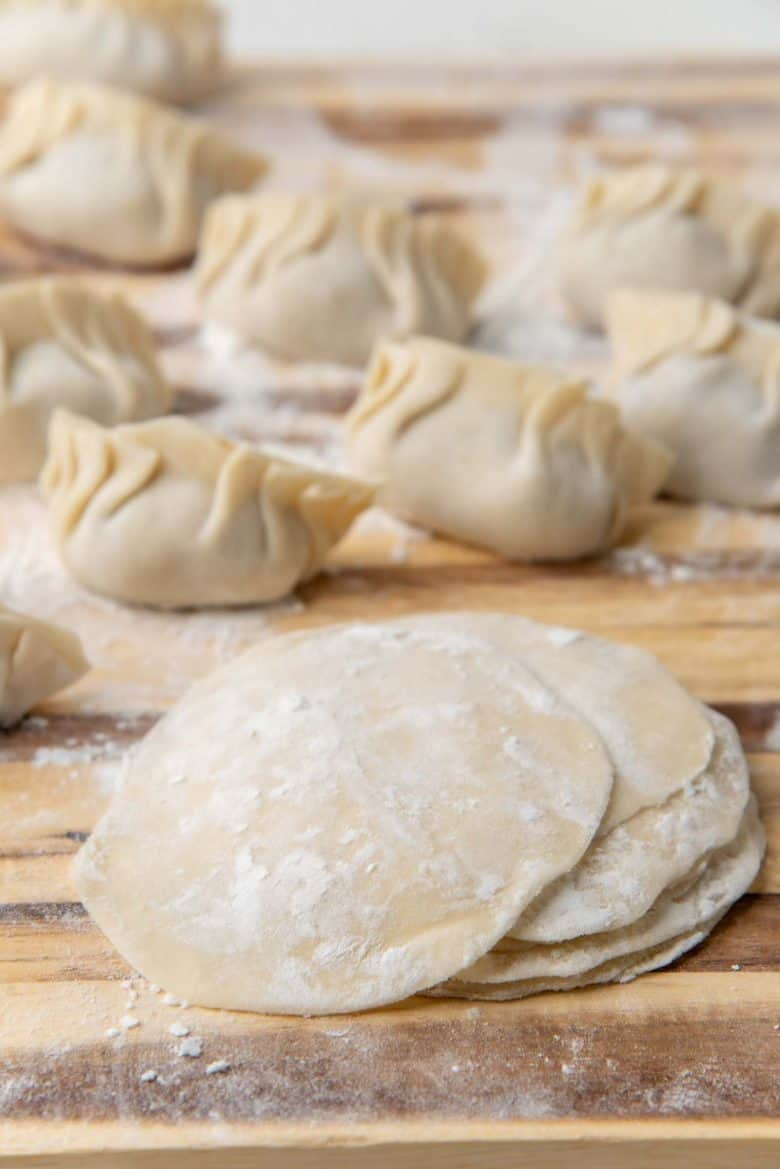 Dumplings made with homemade dumpling dough, and wrappers