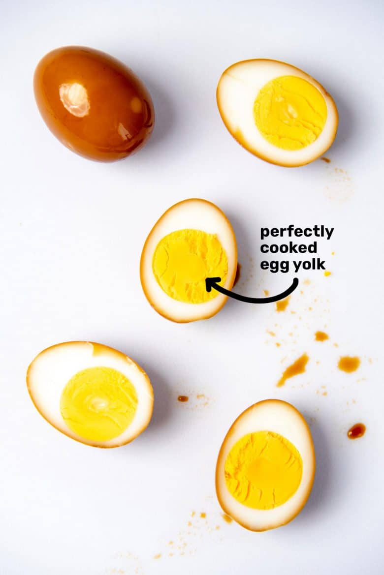 soy sauce marinated, hard boiled ramen eggs with perfectly cooked egg yolks