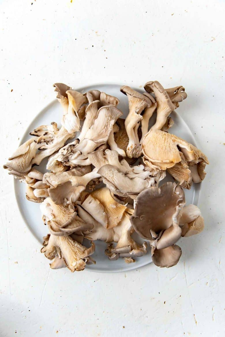 Oyster mushrooms on a plate