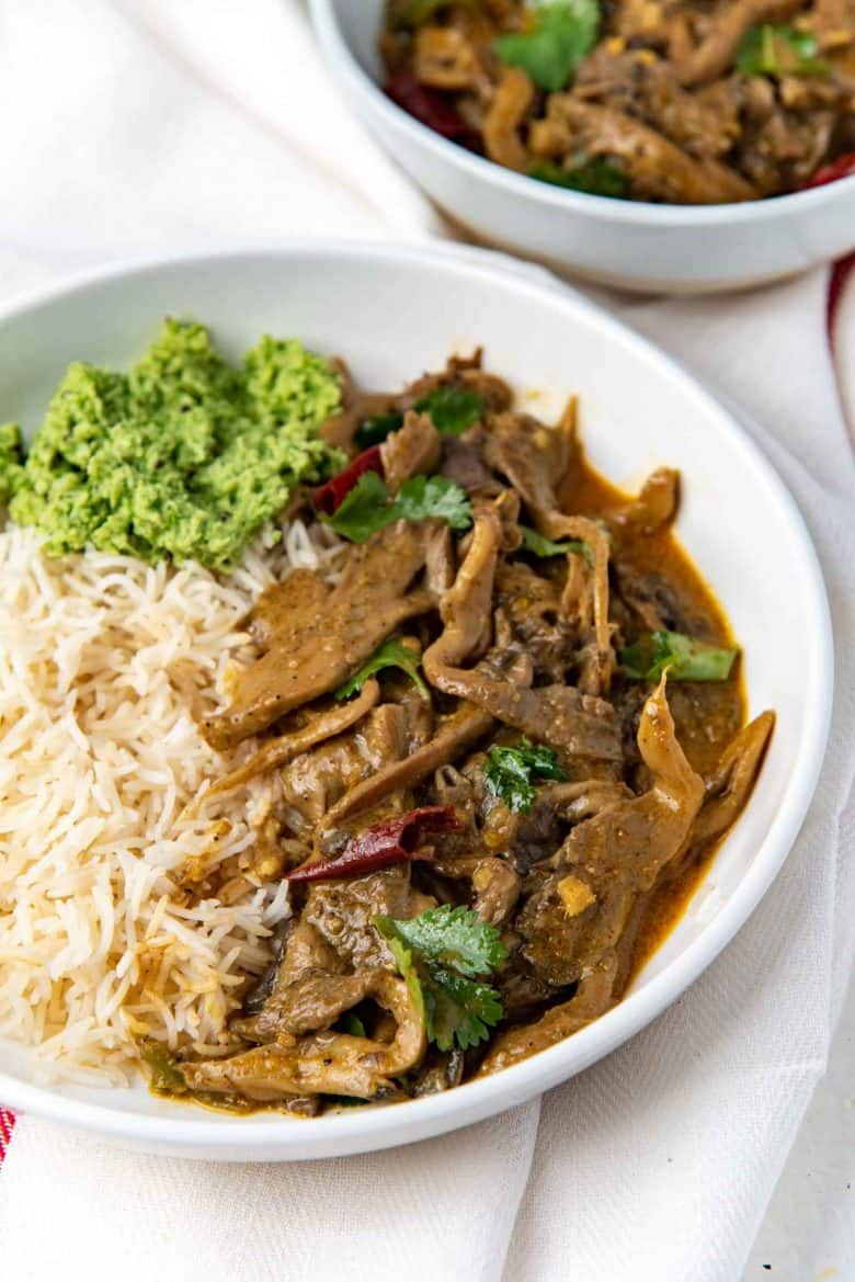 Close up of the Oyster mushroom curry served with rice