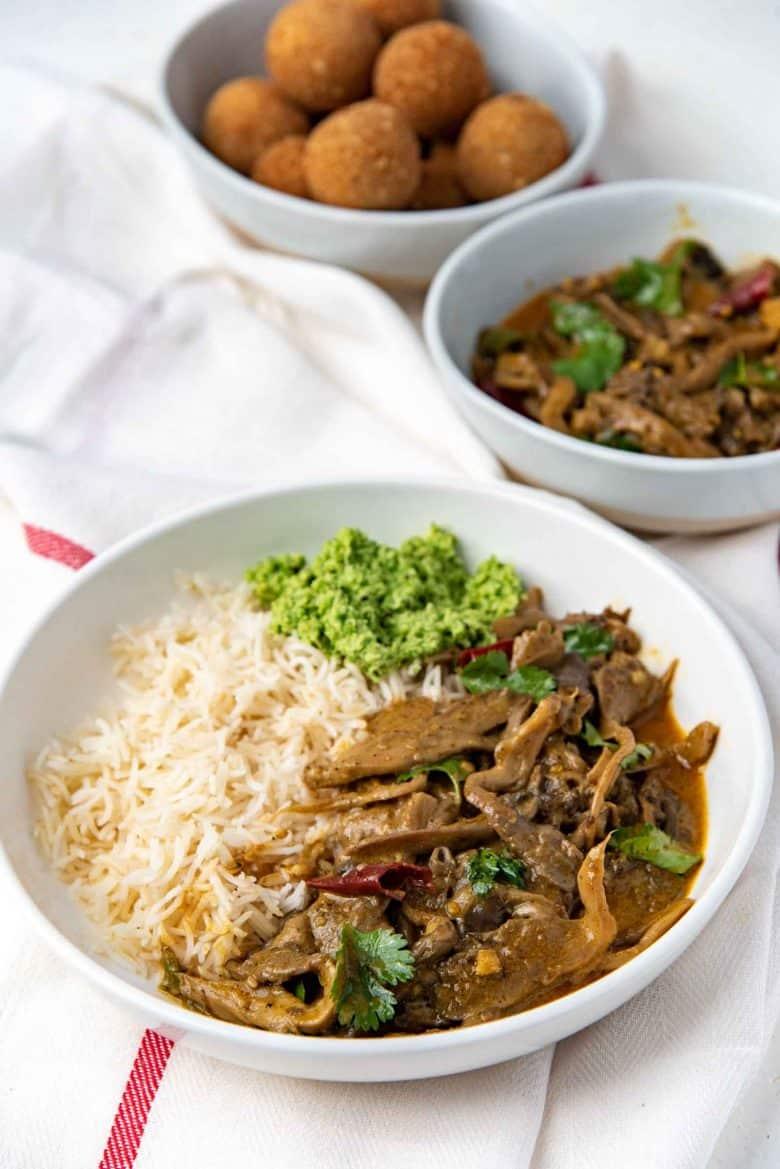 Sri Lankan mushroom curry served with basmati rice