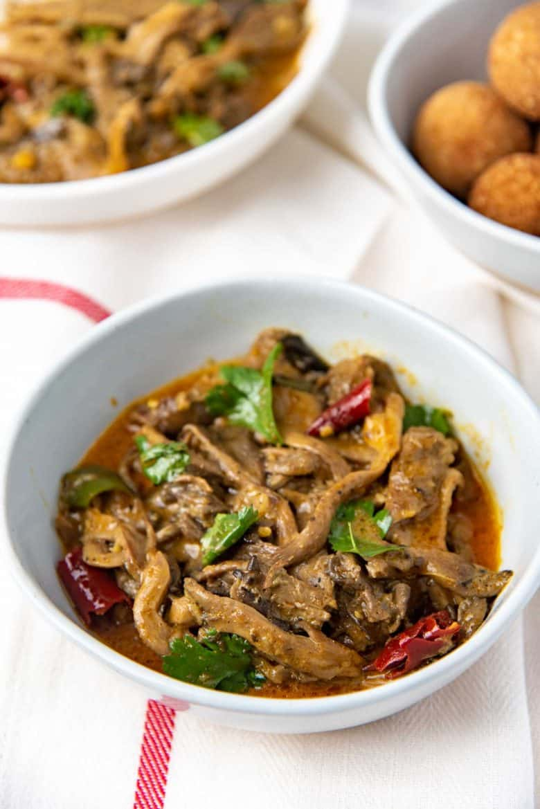 Sri Lankan oyster mushroom curry in a bowl