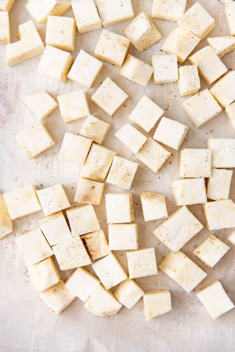 Celeriac cut into cubes