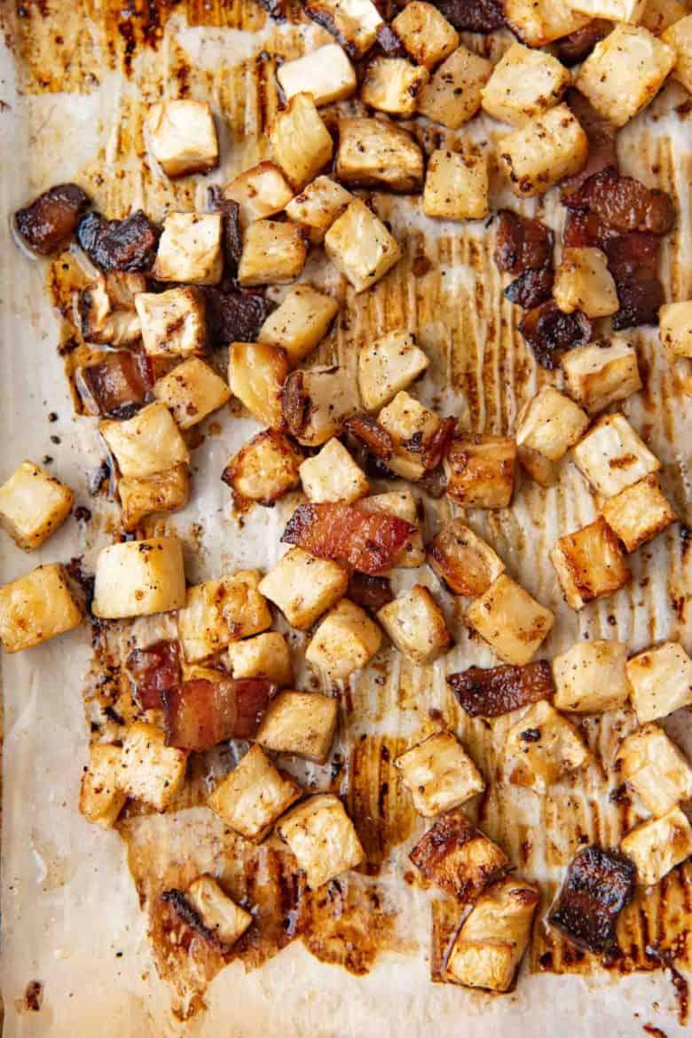 Oven roasted celeriac hash with crispy bacon