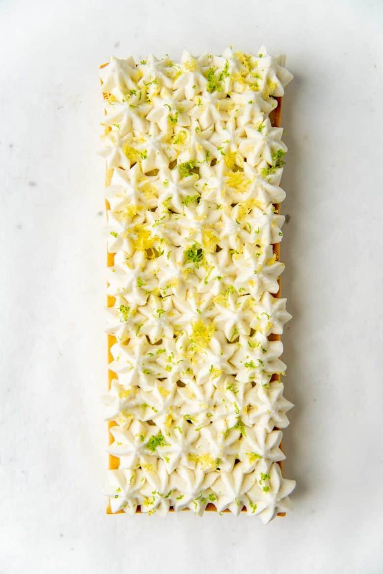 An overhead view of the creamy pineapple tart