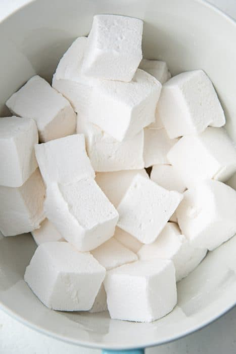 Homemade marshmallows in a large bowl