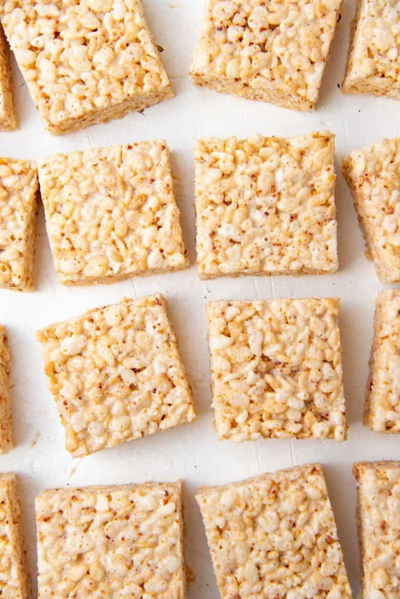 Overhead view of brown butter rice krispie treats