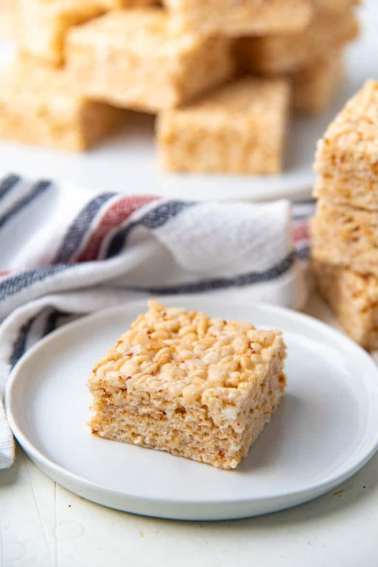 one square of homemade rice krispie treats