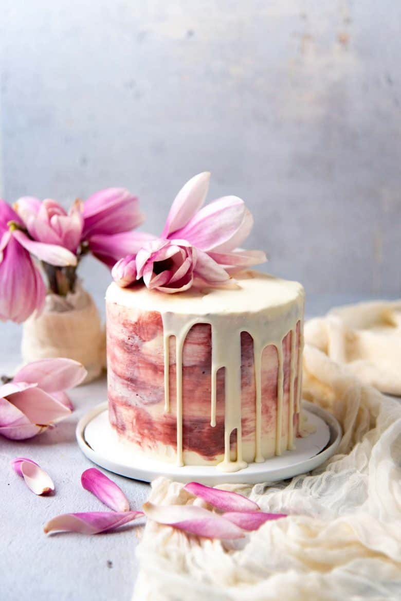 Ginger cardamom cake with rose swiss meringue buttercream