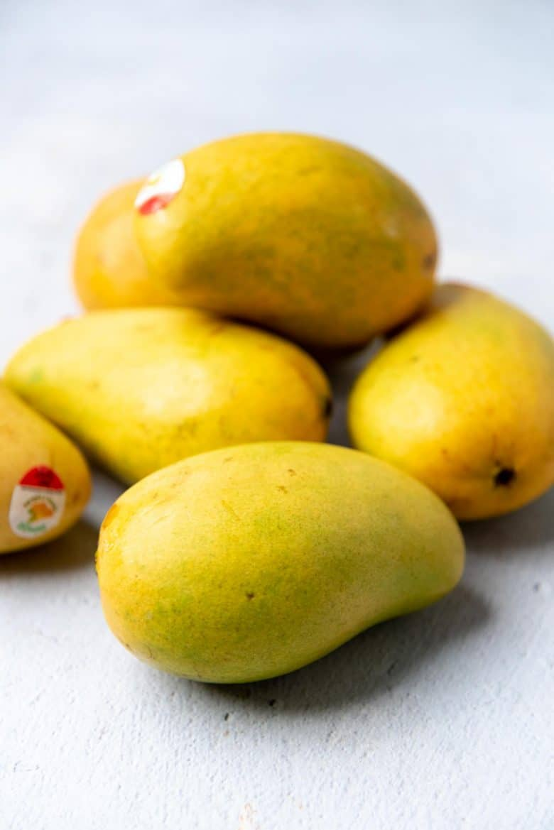 Mangoes on a tabletop