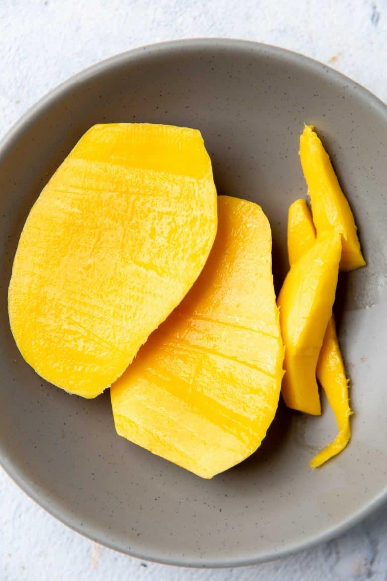 A cut up mango