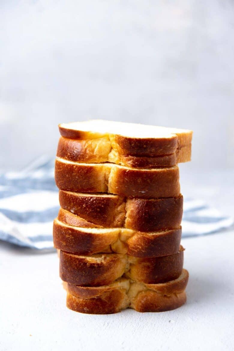 Thick cut brioche bread stacked