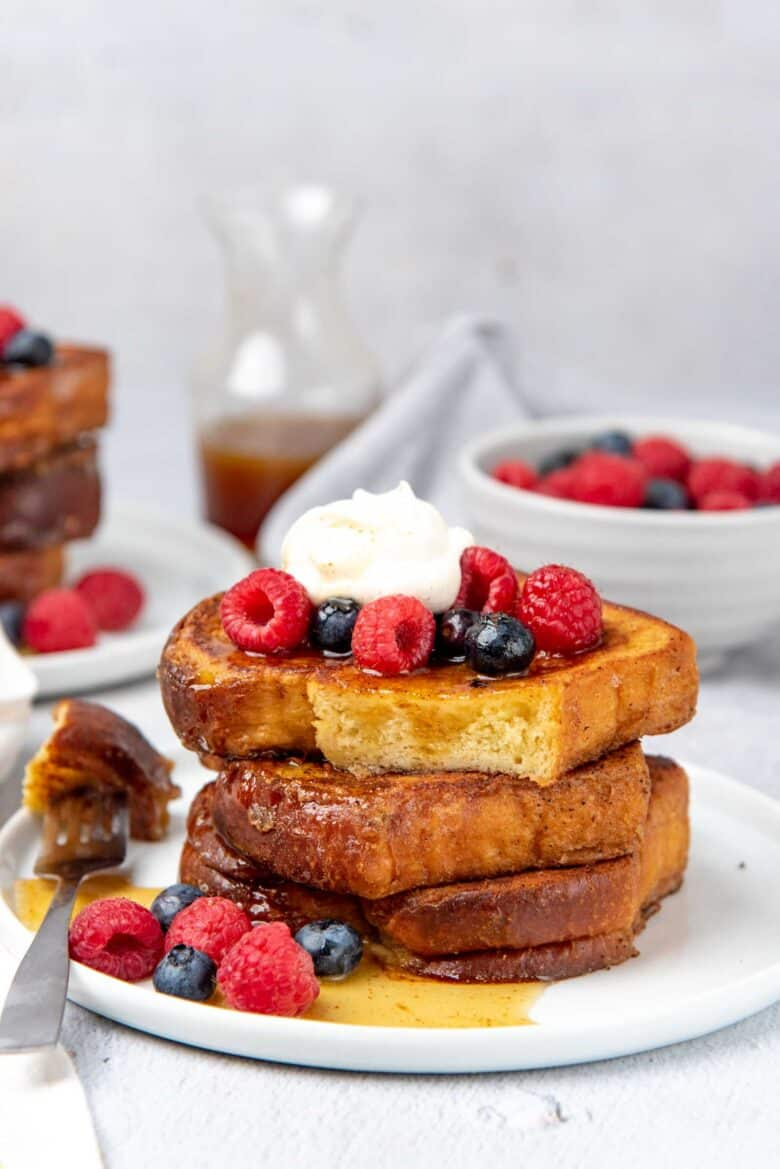 A stack of classic french toast, sliced