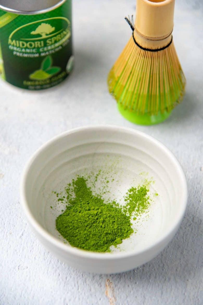 Matcha powder in a bowl