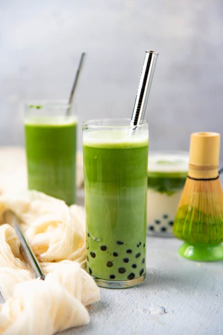 Iced matcha latte with boba pearls