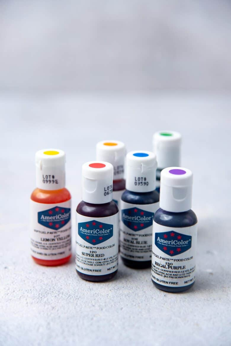 gel food coloring for rainbow colors