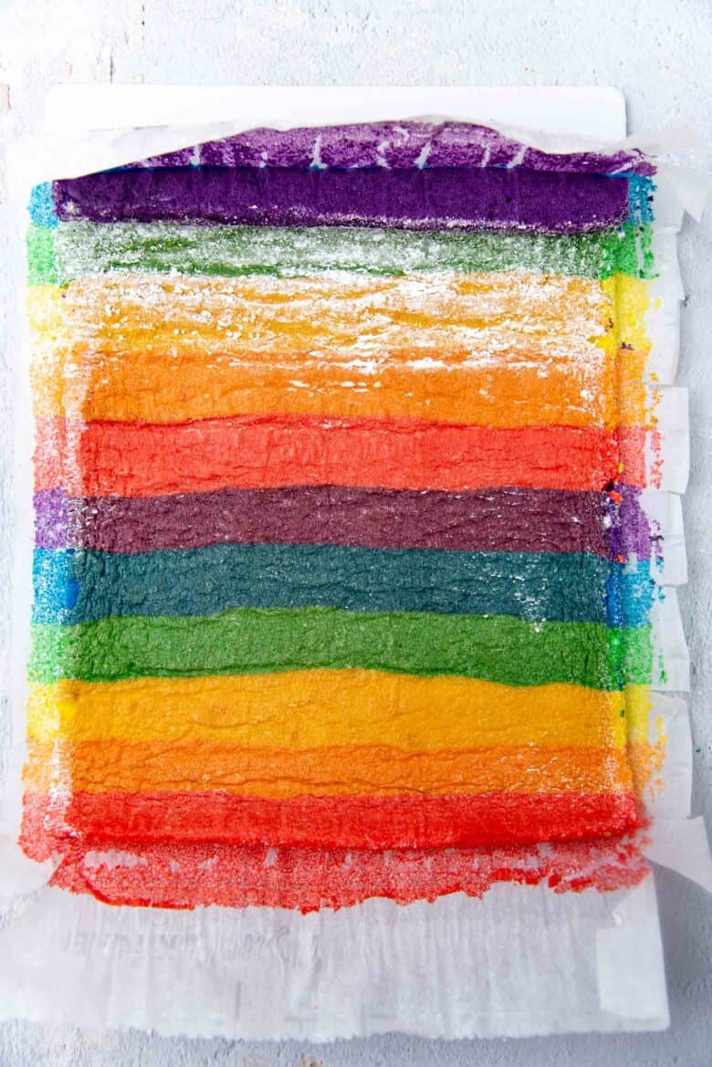 Unraveled cooled cake sheet