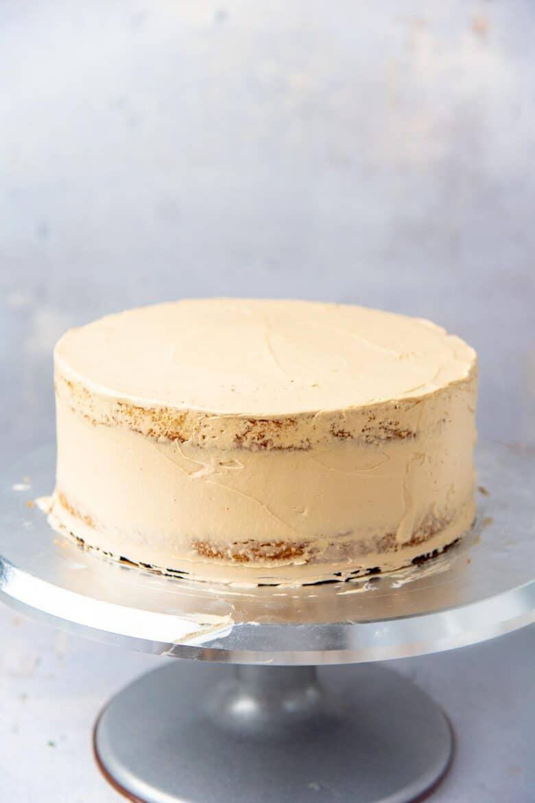 Crumb coated coffee layer cake