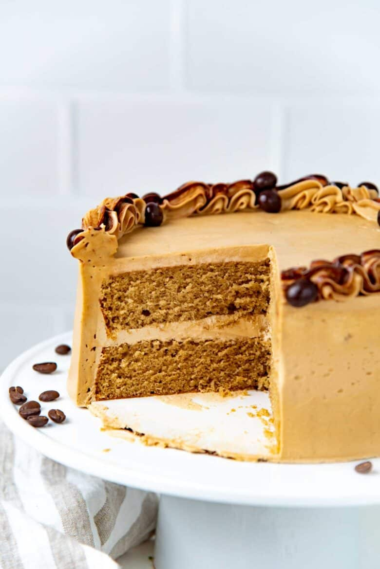 A cross section of the coffee layer cake
