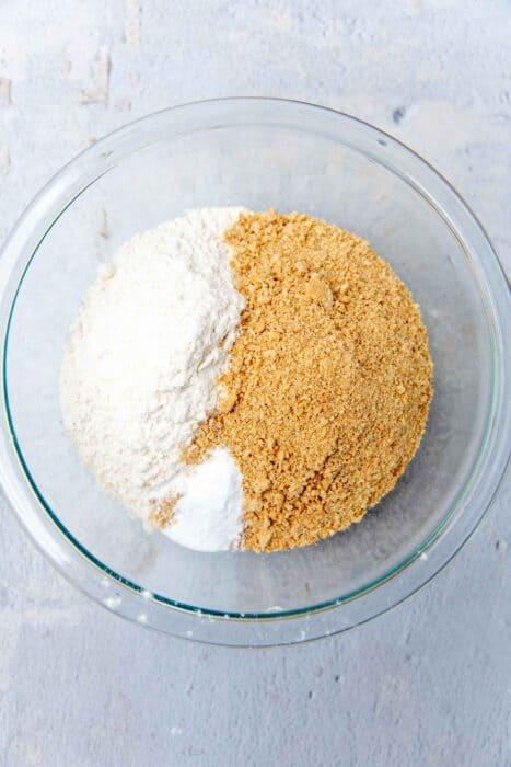 Flour and graham cracker crumbs