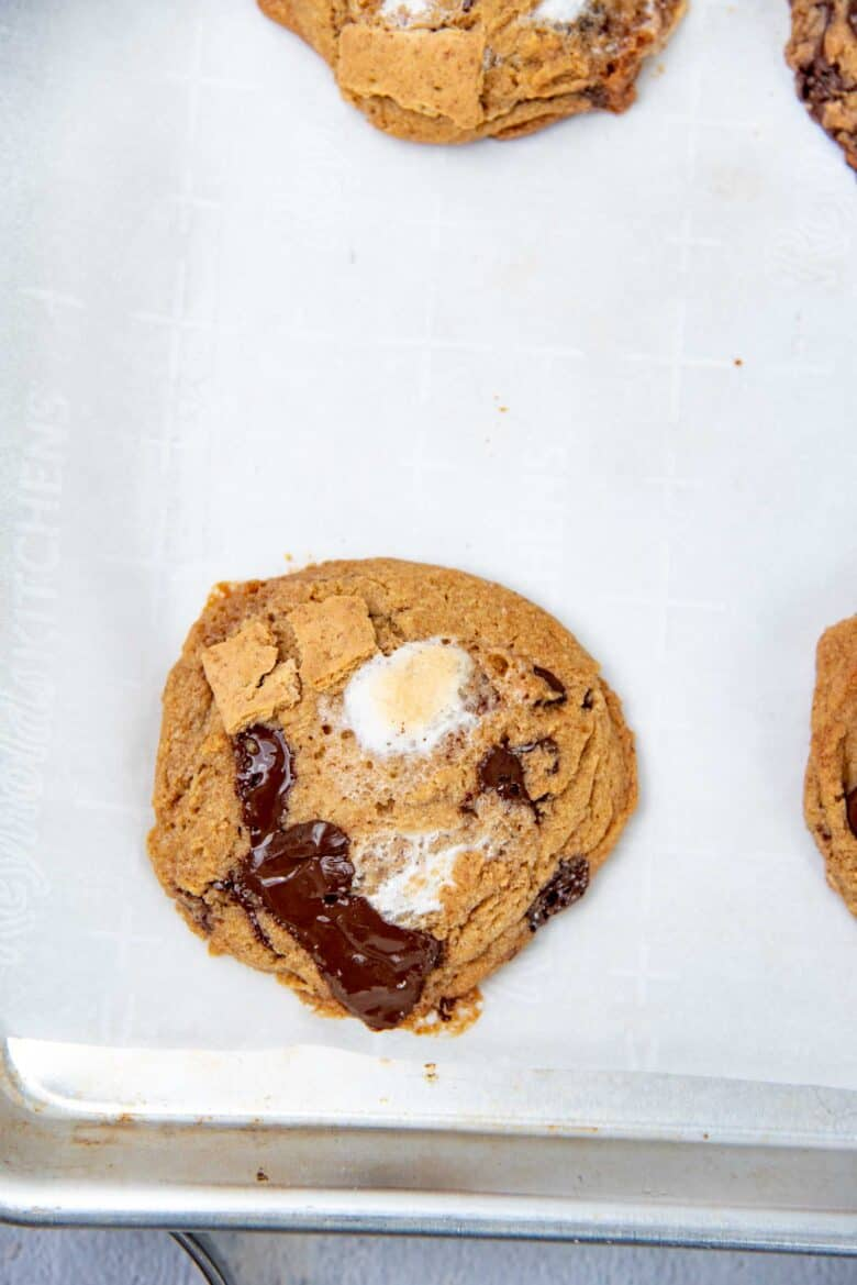 Freshly baked smores cookies