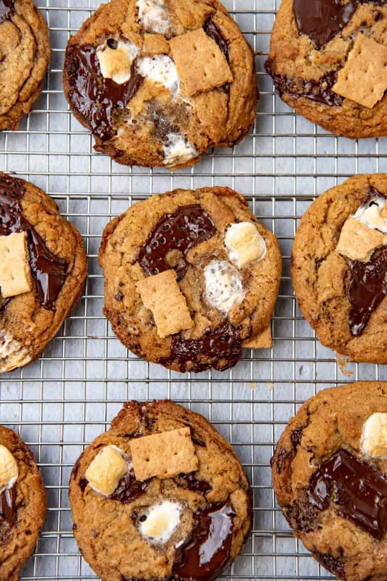 Overhead view of smores chocolate chip cookies
