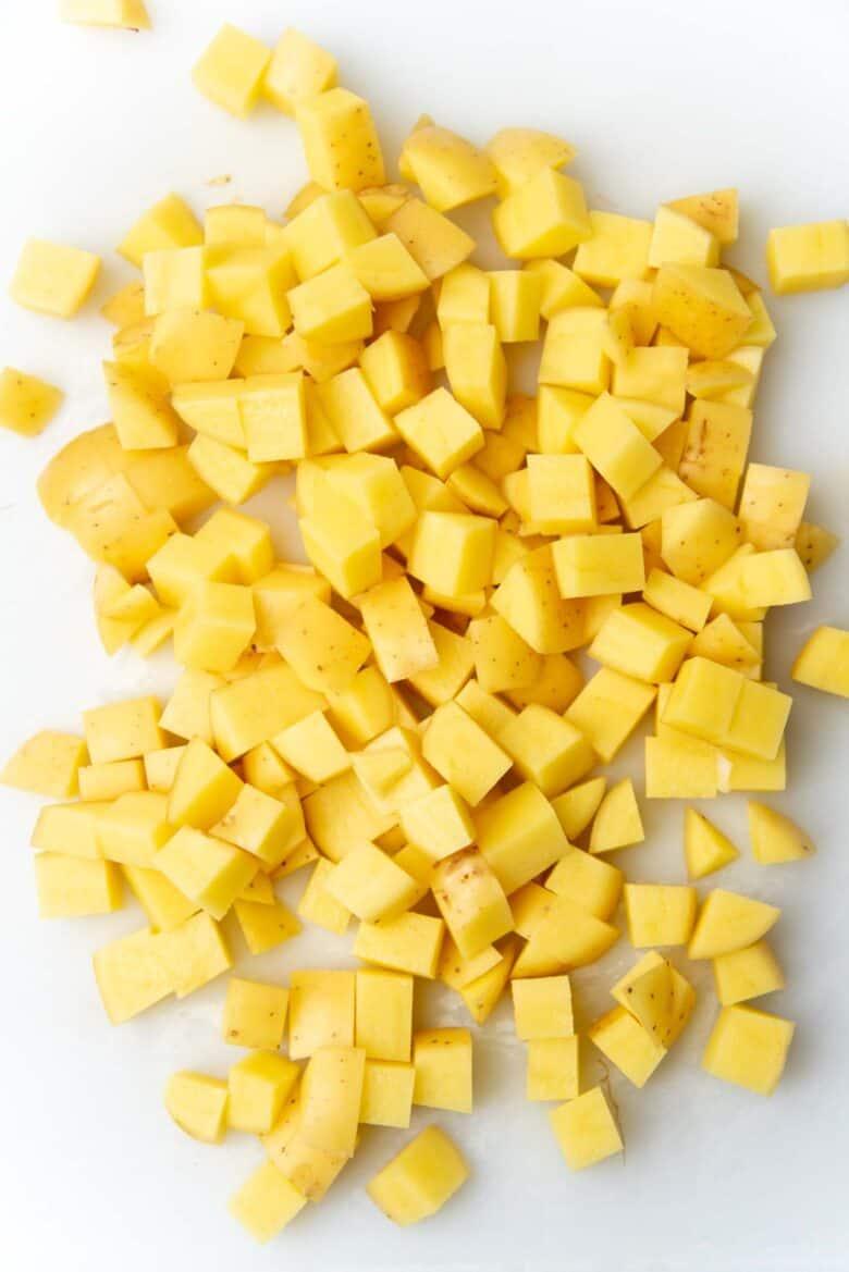 Potatoes cut into cubes
