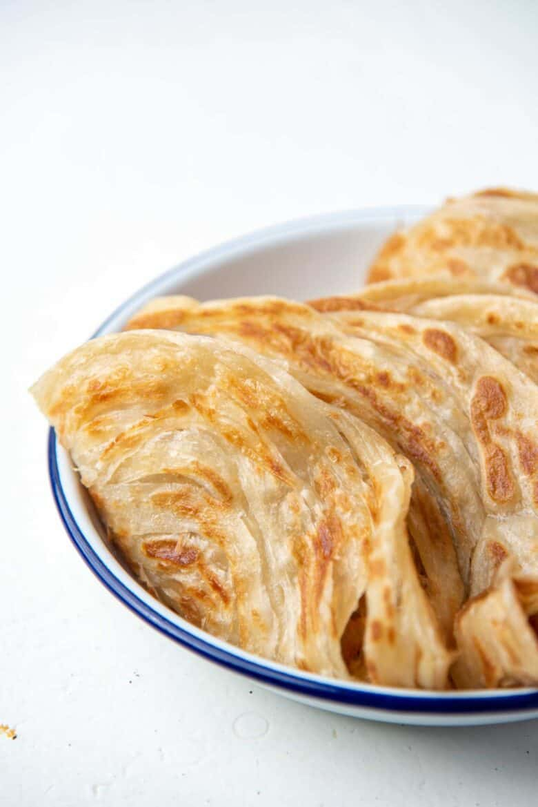 Roti Paratha stacks folded in a plate
