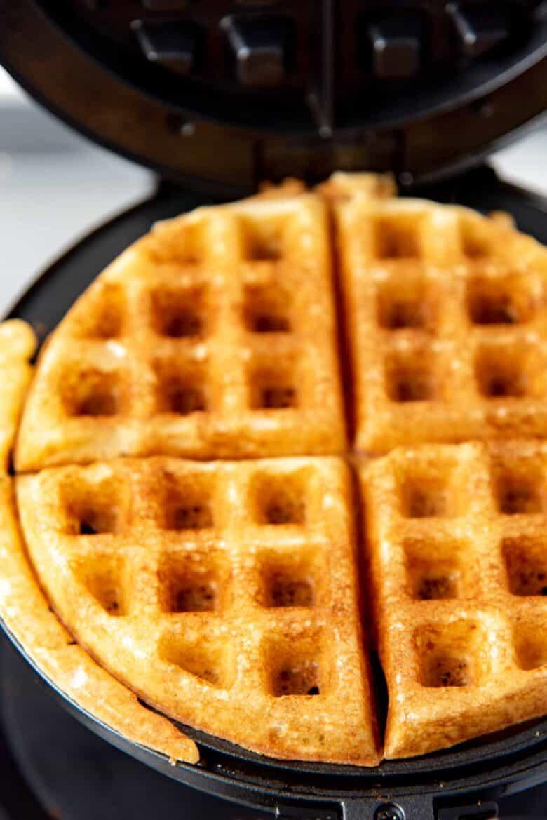 Freshly cooked yeast waffle