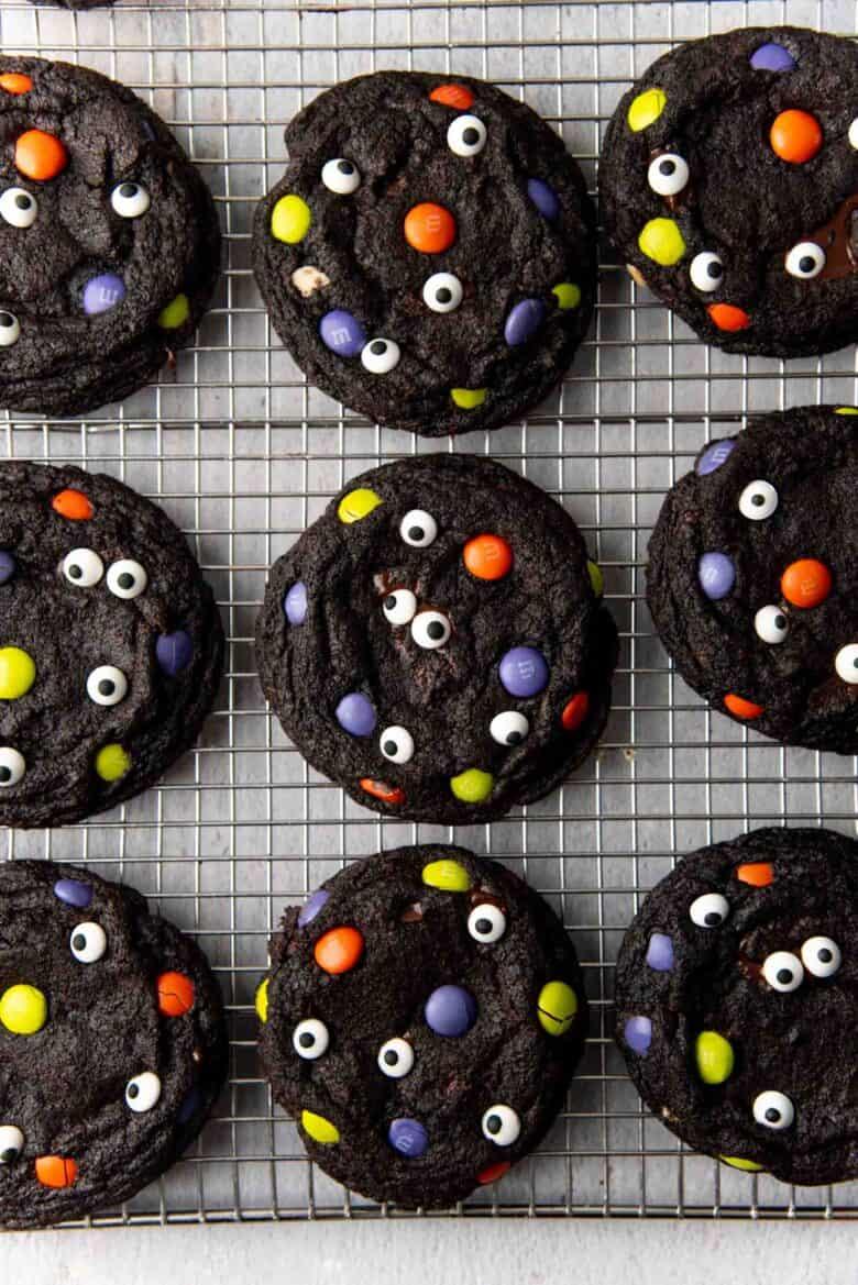 Overhead view of the Halloween monster cookies